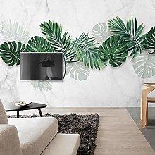 Wallpaper for Bedroom White Green Leaves 118x82.7