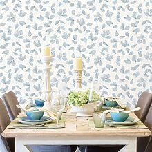 Wallpaper Leaves White and Blue - Multicolour -