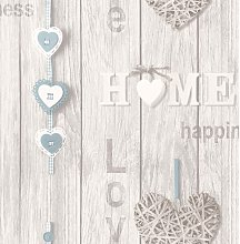 Wallpaper - Love Your Home - Wood Panels - Blue