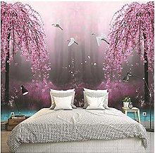 Wallpaper Mural 3D Landscape Trees Crane TV