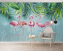 Wallpaper Mural Nordic Plant Flamingo Background