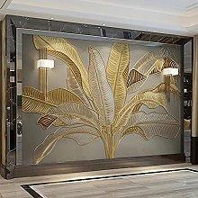 Wallpaper murals 3D Golden Leaves Living Room