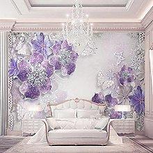 Wallpaper murals 3D Purple Flowers Bedroom Living