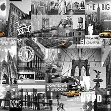 Wallpaper - New York Big Apple Iconic Photos Black