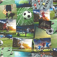 Wallpaper - Novelty Football Collage - Green Boys