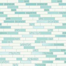 Wallpaper Tiling Oblong Granite Teal 89190 -