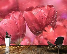 Wallpaper Tulips with Drops of Water Flower 3D