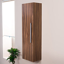 Walnut 1200mm Wall Hung Tall Bathroom Storage Unit