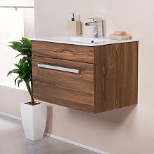 Walnut 600mm Wall Hung Vanity Sink Unit Drawer