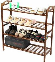Walnut Color Shoe Rack For Bedroom Hallway 4 Tier