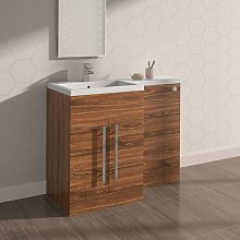 Walnut Left Hand Bathroom Furniture Wash Stands
