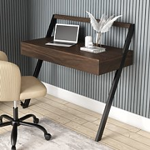 Walnut Wooden Ladder Desk with Storage Drawer -