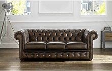 Walsall Genuine Leather 3 Seater Chesterfield Sofa