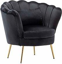 WamieHomy Armchair Velvet Upholstered Lotus Oyster