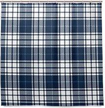 Wamika Blue Tartan Plaid Fabric Shower Curtain