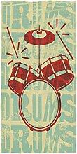 Wamika Drums Vintage Style Bath Towels, Music