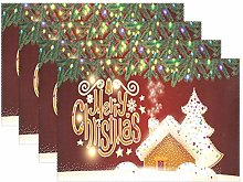 Wamika Merry Christmas Gingerbread Placemats Table