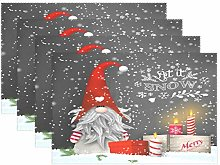 Wamika Merry Christmas Gnome Placemats Set of 4