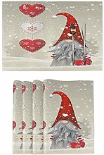 Wamika Winter Christmas Gnome Placemats Set of 4