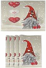 Wamika Winter Christmas Gnome Placemats Set of 6