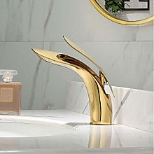 WANDOM Basin Faucet All Copper hot and Cold Golden