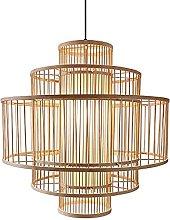 wangch Bamboo Lantern Pendant Lamp, Natural Bamboo