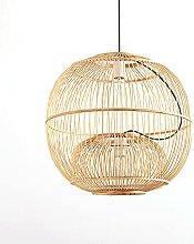 wangch Bamboo Lantern Pendant Lamp, Round