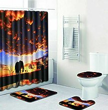 WANGXIAO Elephant Shower curtain, 12 hook shower