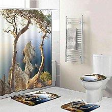 WANGXIAO Herbst Naturbaum Shower curtain, 12 hook