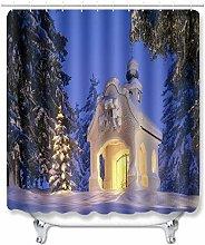 WANGXIAO Schneehaus in der Nacht Shower curtain,