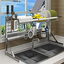 wangxike Over Sink Dish Drainer Rack, 2-Tier Large
