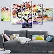 WANGZHONG -5 Panel Wall Art Abstract Tree Of Life