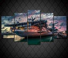 WANGZHONG 5 Panel Wall Art Aircraft Carrier