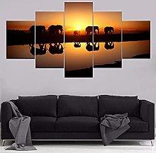 WANGZHONG 5 Panel Wall Art Animal Elephant Sunset