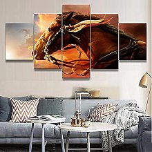WANGZHONG 5 Panel Wall Art Animal Horse Painting