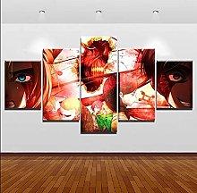 WANGZHONG 5 Panel Wall Art Anime Abstract Painting