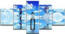 WANGZHONG 5 Panel Wall Art Anime Characters Blue