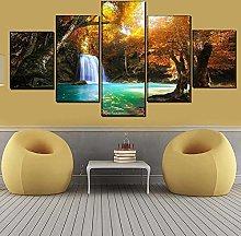 WANGZHONG 5 Panel Wall Art Autumn Forest Waterfall