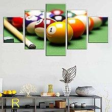 WANGZHONG -5 Panel Wall Art Color Billiard Balls