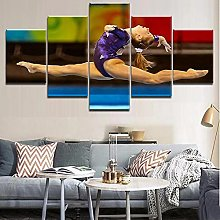 WANGZHONG 5 Panel Wall Art Competitive Gymnast