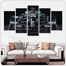 WANGZHONG 5 Panel Wall Art Formula 1 Car Painting