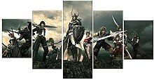 WANGZHONG 5 Panel Wall Art Game Character Fighter
