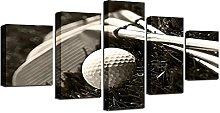 WANGZHONG 5 Panel Wall Art Golf Clubs And Golf