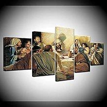 WANGZHONG 5 Panel Wall Art Last Supper Of Jesus
