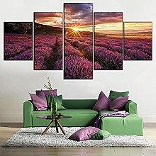 WANGZHONG 5 Panel Wall Art Lavender Field