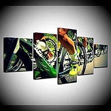 WANGZHONG -5 Panel Wall Art Mountain Bike Race