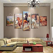WANGZHONG 5 Panel Wall Art Oil Painting Galloping