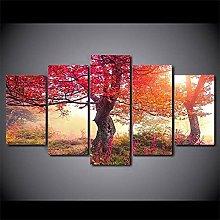 WANGZHONG 5 Panel Wall Art Red Maple Tree In