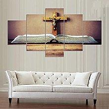 WANGZHONG -5 Panel Wall Art Religious Cross Jesus