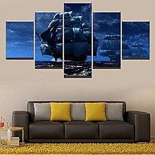 WANGZHONG 5 Panel Wall Art Sailboat Sailing On The